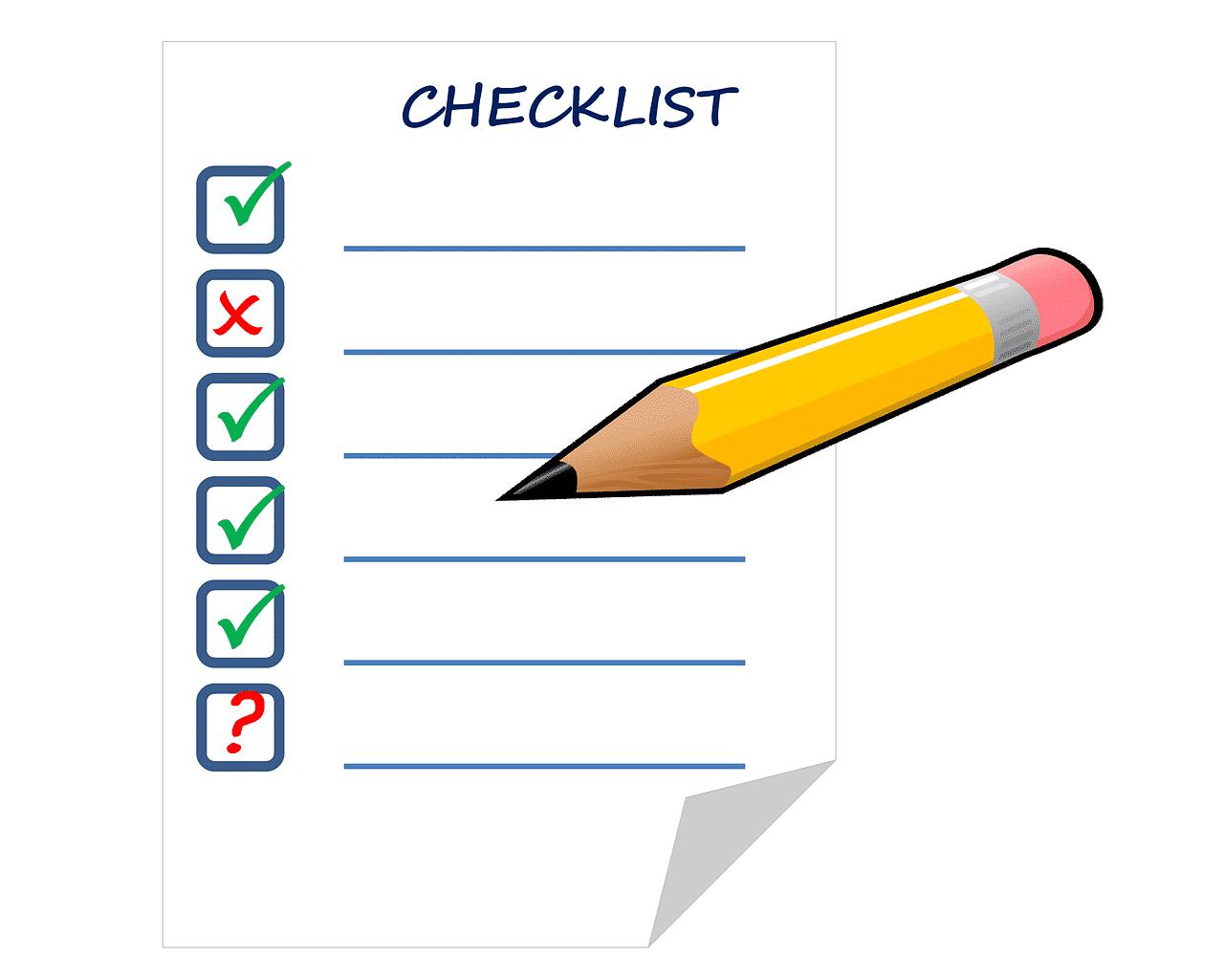 Einfache Checkliste am Arbeitsplatz