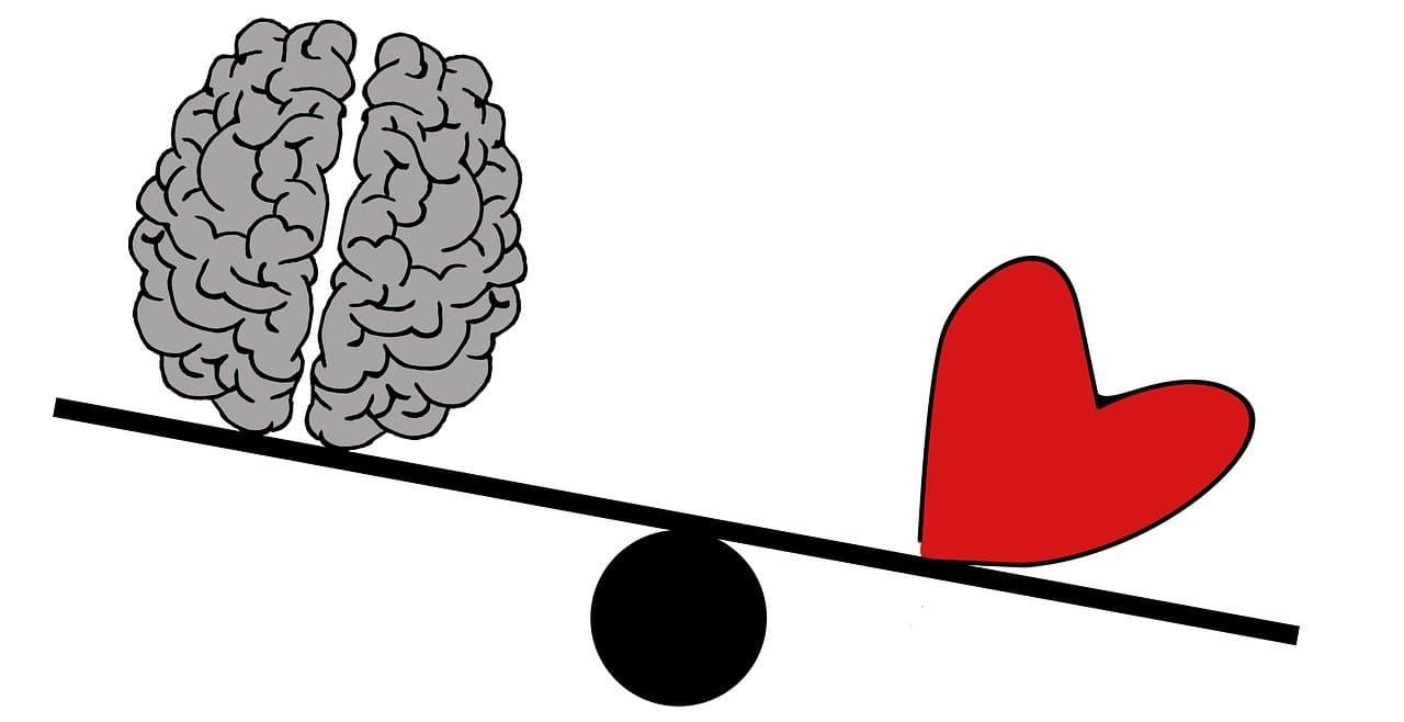 Gefuehlschaos Definition Herz und Verstand auf Wippe